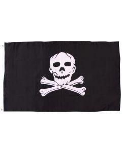 Star Power Giant Halloween Pirate Skull & Crossbones 6' x 5' Flag, Black