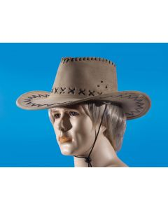 Star Power Leatherette Stitch Fancy Brim Cowboy Hat, Tan, One Size