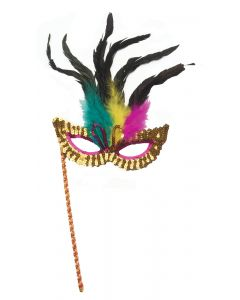 Star Power Masquerade Sequin Feather Mask on a Stick, One Size