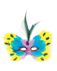 Loftus Masquerade Butterfly Sequin Feather Mask, Yellow Blue Purple, One Size