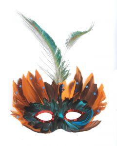 Loftus Masquerade Sequin Feather Mask, Orange Teal, One Size