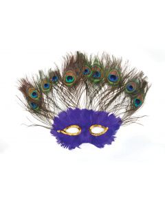 Loftus Peacock Masquerade Sequin Feather Mask, Purple, One Size
