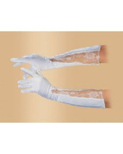 "Star Power Women Fancy Satin Lace Below the Elbow Gloves, White, One Size (18"")"