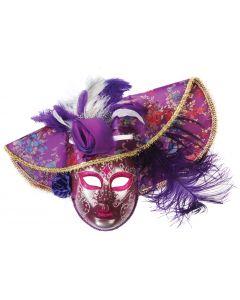 Loftus Feather Hat Full Face Masquerade Venetian Mask, Purple, One Size
