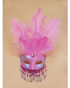 Pink & Silver Venetian Womens Half Mask w Decorative Feathers & Beads