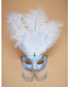 White & Silver Venetian Womens Half Mask w Decorative Feathers & Beads