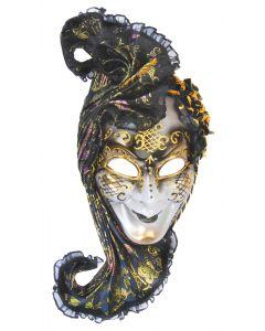 Loftus Headpiece Full Face Masquerade Venetian Mask, Black Gold, One Size