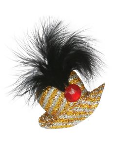 Loftus Black Feather Red Jewel Mini Hat Hair Clip, Gold Silver, One Size