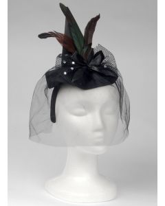 Loftus Mini Witch Hat Headband w Feathers and Veil, Black, One Size