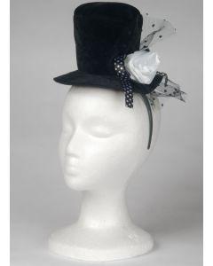 Loftus Mini Top Hat Adult Headband w Rose, Black White, One Size