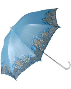 Star Power Fancy Trim Costume Parasol Umbrella, Light Blue, One Size