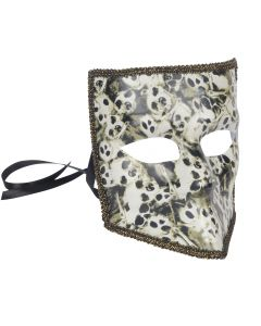 Star Power Halloween Skull Faces Square Adult Mask, White Black, One Size