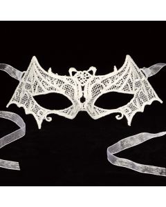 Star Power Bat Venetian Lace Eye Embroidery Half Mask, White, One-Size
