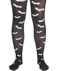 Star Power Sexy Adult Halloween Bat Pantyhose, Black White, One-Size
