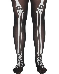 Star Power Skeleton Bone Legs Pantyhose, Black White, One-Size