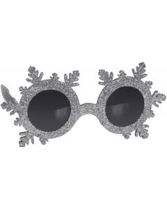 "Star Power Novelty Snowflake Glasses, Silver Black, One-Size 6"" Wide"