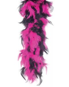 Star Power Long Fluffy 2-Color Feather Boa, Pink Black, One-Size 72""