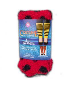 "Star Power Women Ladybug Costume 2pc Leg Warmers, Red Black, One-Size 14"""