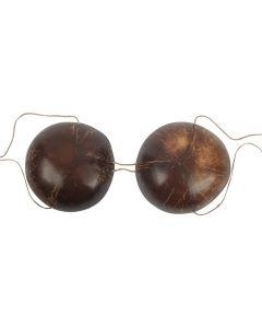 Genuine Authentic Hula Girl Coconut Bra Bikini Top, Brown, One Size