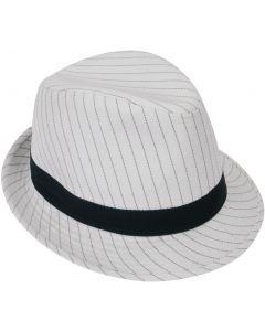 Loftus 1920s Gangster Mob Boss Costume Pinstripe Fedora, White Black, One Size