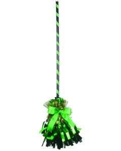 "Veil Entertainment Fancy Shining Witch Halloween Broom, Green Black, 32"" L"