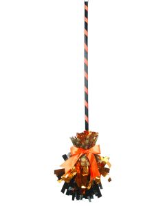 "Veil Entertainment Fancy Shining Witch Halloween Broom, Orange Black, 32"" L"