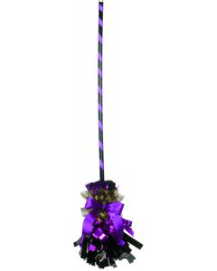"Veil Entertainment Fancy Shining Witch Halloween Broom, Purple Black, 32"" L"