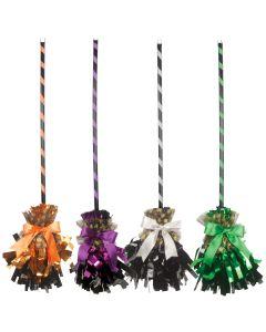 """Women Fancy Shining Witch Halloween Broom, 32"""" L, Green Orange or Purple"""