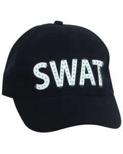 Loftus SWAT Team Police LED Light-Up Costume Baseball Hat, Black White, One Size