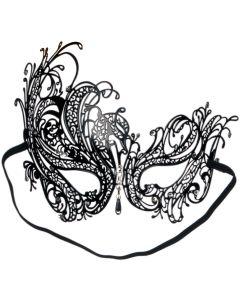 Loftus Sultry Jewel Metal Masquerade Laser Cut Half Mask, One-Size, Black