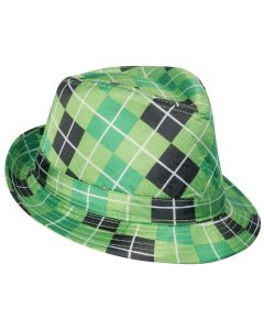 Loftus Green Checkered Light-Up Fedora Party Hat, Green Black, One-Size