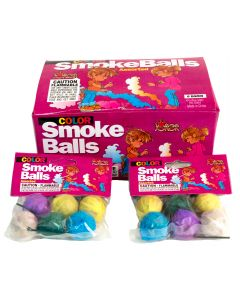 Joker Assorted Color Novelty Smoke Balls Display, 72pcs - 12 Packs of 6