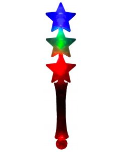 "Supreme Triple Star Light-up Halloween Safety 12 3/4"" LED Wand, Transparent"