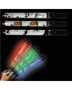 "Supreme Glow Halloween Print Safety Light-up Patrol 18"" LED Wand, Black"