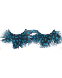 Loftus Polka Dot Costume Feather 2pc Eyelashes, Blue Black, One Size