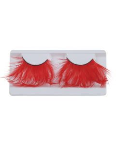 Loftus Showgirl Costume Feather 2pc Eyelashes, Red, One Size