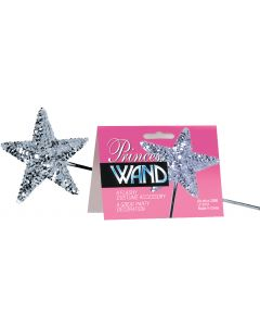 """Star Power Flashy Royal Princess Sequin Wand, Silver, One Size 16"""""""