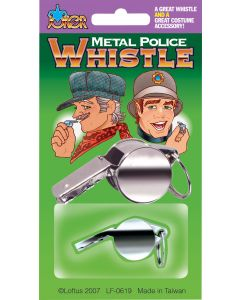 Joker Metal Police & Train Conductor Costume Costume Whistle, Silver, 2""