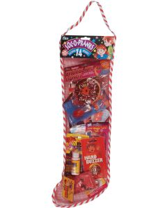 "Joker SOC-O-PRANKS Full Of Pranks Christmas Stocking 14pc 22"" Gift Set, Red"
