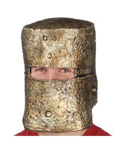 Loftus Spartan Knight Crude Worn Look Latex Costume Helmet, Gold, One Size