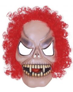 Star Power Monster Clown With Curly Hair Latex Mask, Beige Red, One Size