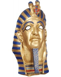 Star Power Egyptian Mummy Pharaoh Latex Mask, Gold Blue Red, One Size
