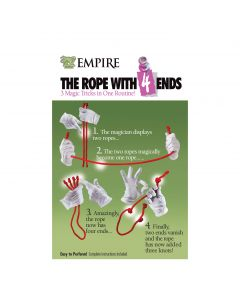 """Empire Magic Rope with 4 Ends Magician Hand 12"""" Close-Up Magic Trick, White"""
