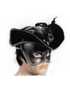 Venetian Masquerade Pirate Anonymous Half Mask w Hat - Silver Adult OS
