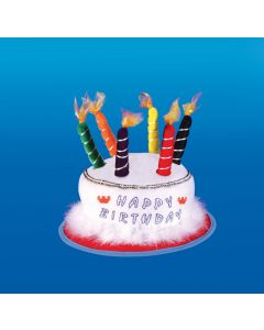 Star Power Happy Birthday Cake & Candle Party Hat, White, One Size