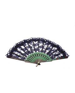 Loftus Lady Costume Lacy Folding Fancy Fan, Black Green, One Size 9""
