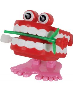 """Valentine's Day Wind-Up Teeth With Rose 2"""" Novelty Toy, Red White"""