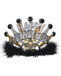 Loftus Flashing Light Up Happy New Year Crown Tiara, Black Gold Silver, One Size