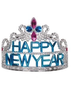 Loftus Happy New Year Plastic Jewels Tiara, Silver Pink Blue, One Size