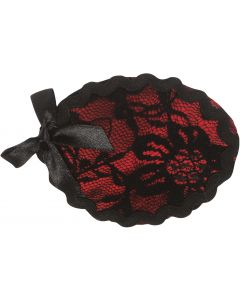 Loftus Sexy Lady Pirate Costume Lace & Bow Eye Patch, Black Red, One Size 2.5""